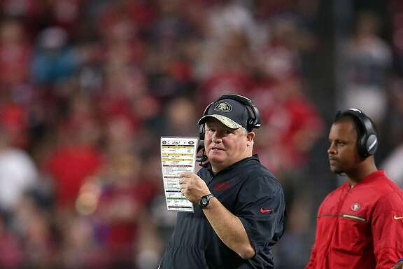 GLENDALE, AZ - NOVEMBER 13: Head coach Chip Kelly of the San Francisco 49ers calls a play during the fourth quarter of the NFL football game against the Arizona Cardinals at University of Phoenix Stadium on November 13, 2016 in Glendale, Arizona. Arizona won 23-20. (Photo by Chris Coduto/Getty Images)