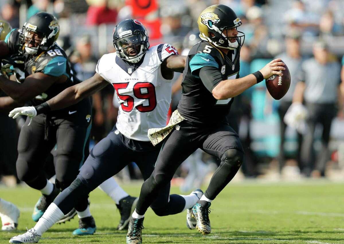 Texans linebacker Whitney Mercilus won't be around to chase Blake Bortles in teams' rematch.