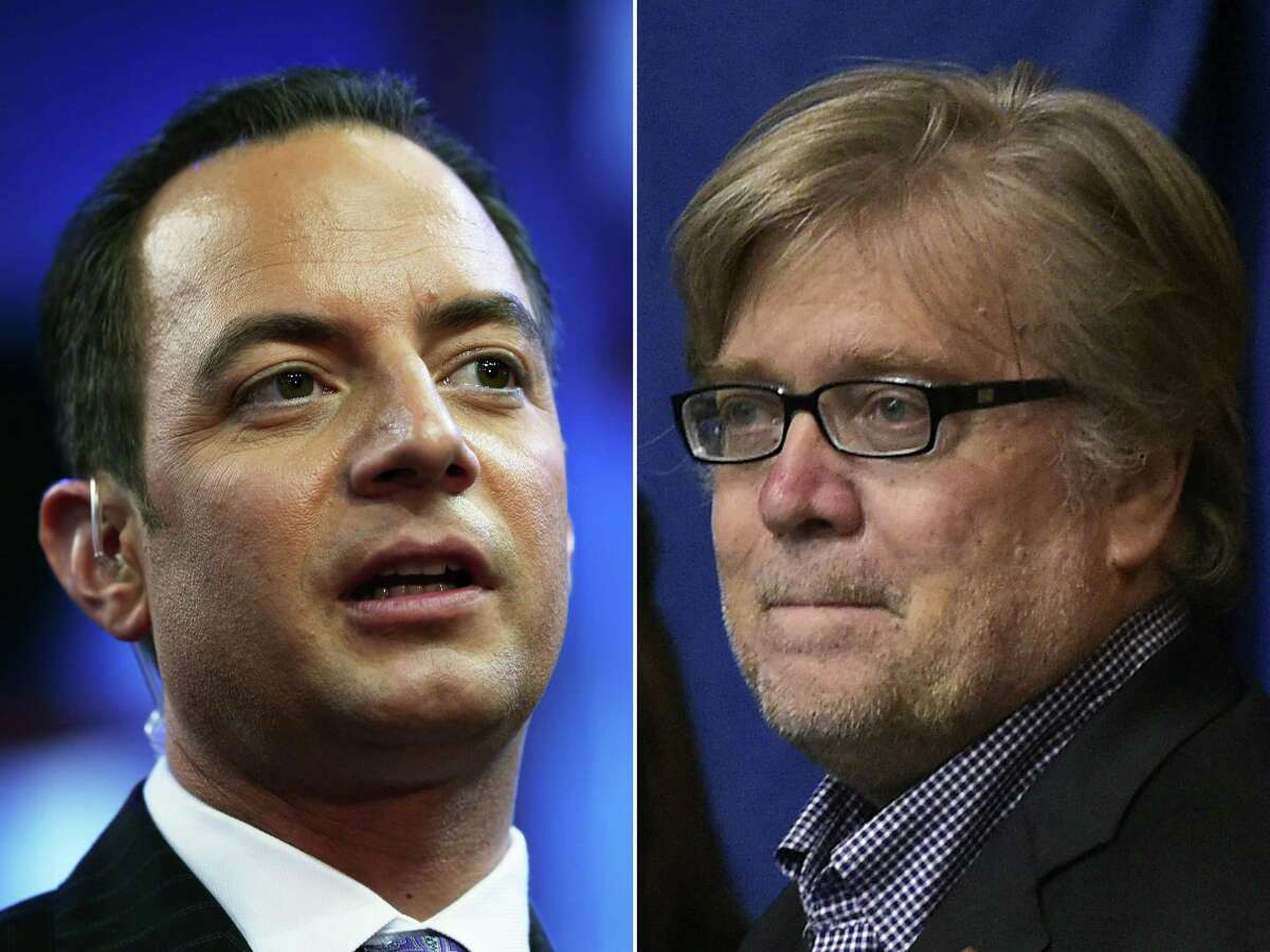 (FILES)(COMBO) This combination of pictures created on November 11, 2016 shows Republican National Convention Chairman Reince Priebus (L) and Donald Trump's campaign Chief Executive Officer Stephen K. Bannon. US President-elect Donald Trump made the first top appointments of his new administration November 13, 2016, naming Reince Priebus his White House chief of staff and Steve Bannon as his chief strategist and senior counselor. / AFP PHOTO / STFSTF/AFP/Getty Images