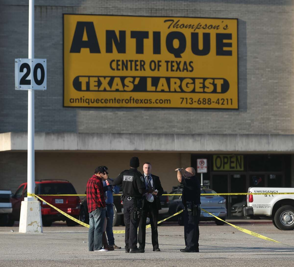 Police investigate a double homicide that occurred in the parking lot of the Northwest Mall, Monday, Nov. 14, 2016, in Houston.