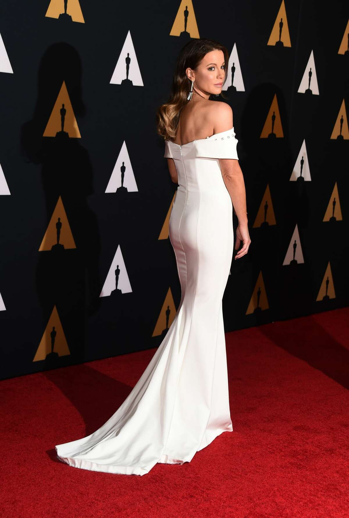 THE VAGUELY BRIDAL:  We'll start with the vaguely bridal trend. Kate Beckinsale showed up in this off-the shoulder gown we swear we've seen a bride wearing.