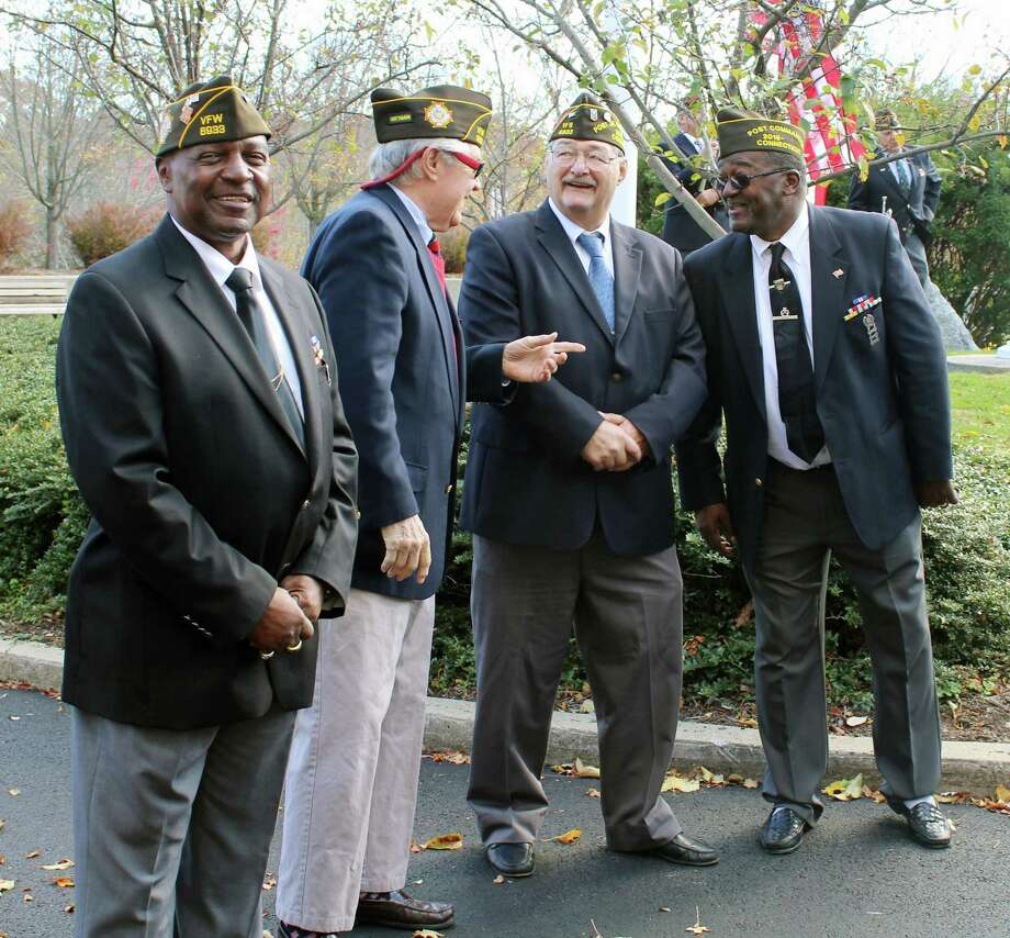 Darien veterans came out to a Veterans Day ceremony in front of Town Hall in Darien, CT on Nov. 11, 2016. Photo: Erin Kayata / Hearst Connecticut Media / Darien News