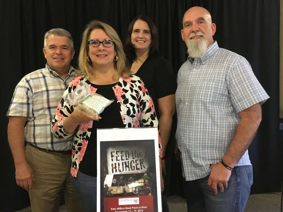 Compassion Katy is organizing Feed the Hunger's Pack -a-Thon Nov. 17-19 at three churches. From left are Roy Meadows of Westland Baptist Church, Denise Mayfield of Compassion Katy, Randi Long of Redeemer Community Church and Glenn Lerich of The Fellowship.