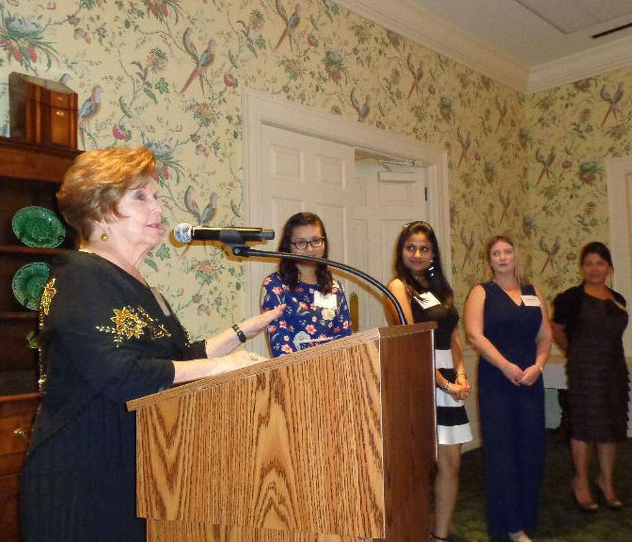Delphian president Sunny Carpenter introduced scholarship recipients. Photo: Houston Assembly Of Delphians