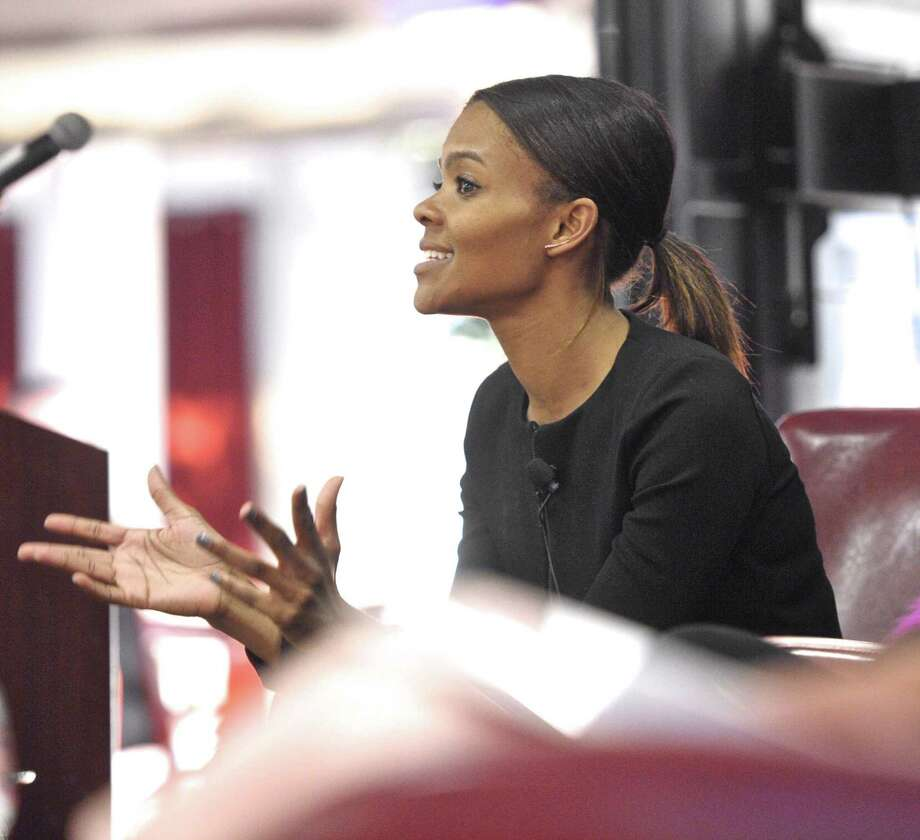Candace Owens, creater of the anti-bullying startup SocialAutopsy.com, speaks in Danbury in April. Photo: H John Voorhees III / Hearst Connecticut Media / The News-Times
