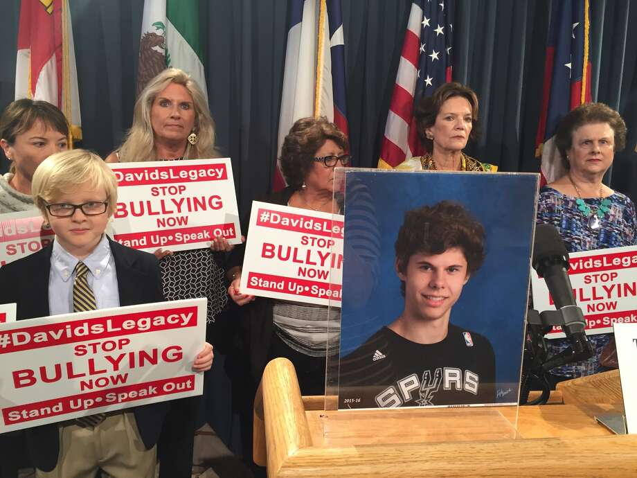 The parents of David Molak, a 16-year-old boy from Alamo Heights who committed suicide after alleged prolonged bullying, promoted a bill in his memory on Monday, Nov. 14, 2016, in an effort to give more protection to bullying victims. Photo: Peggy Fikac