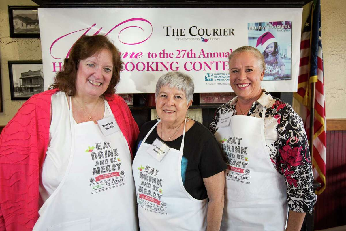 Main dish contestants Sharon Luster, Shirley Meadows and Bunny Benditz pose for a photo on Oct. 29 at McKenzie's Barbeque in Conroe.