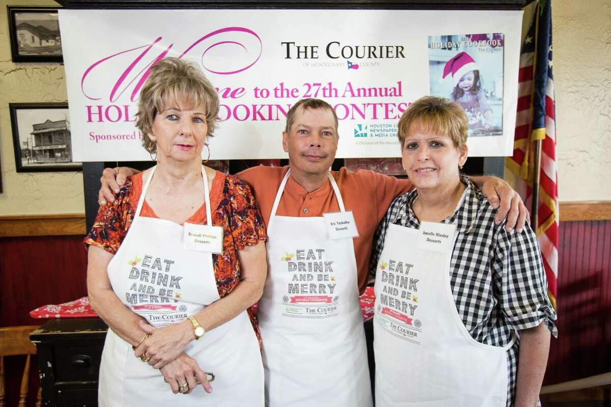 Dessert contestants Brandi Phillips, Eric Yakulka and Janelle Hinsley pose for a photo on Saturday, Oct. 29, 2016, at McKenzie's Barbeque in Conroe.