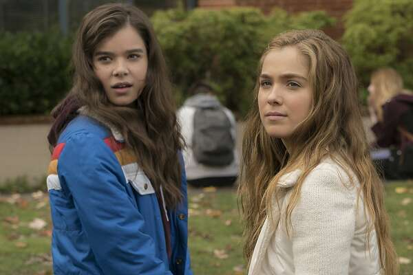 "This image released by STX Films shows Hailee Steinfeld, left, and Haley Lu Richardson in a scene from ""The Edge of Seventeen."" (Murray Close/STX Films via AP)"