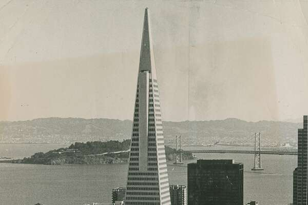 The bay and bridge can be seen in this photo of the Transamerica Pyramid Building taken October 29, 1972.