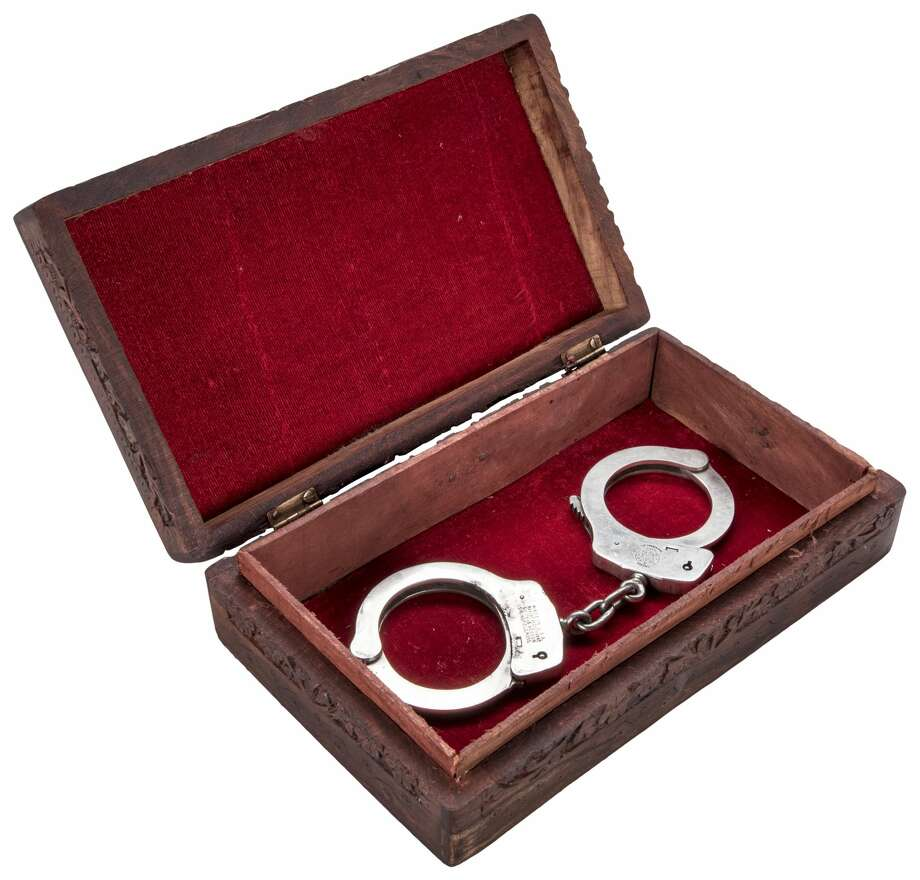 A pair of handcuffs used by Dallas police officer Ray Hawkins to arrest accused Kennedy assassin Lee Harvey Oswald on Nov. 22, 1963 are currently being auctioned off online via Goldin Auctions. Photo: Goldin Auctions