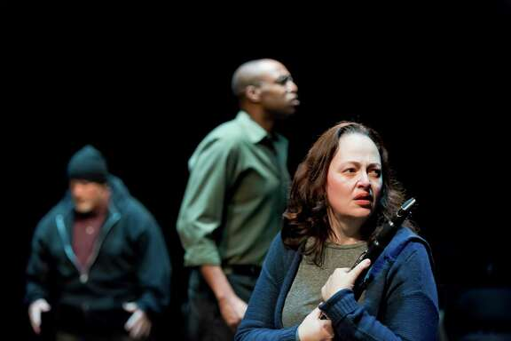 """From left, Noel Bowers, Jovan Jackson and Tamarie Cooper in the Catastrophic Theatre's staging of Mickle Maher's play """"Song About Himself."""""""