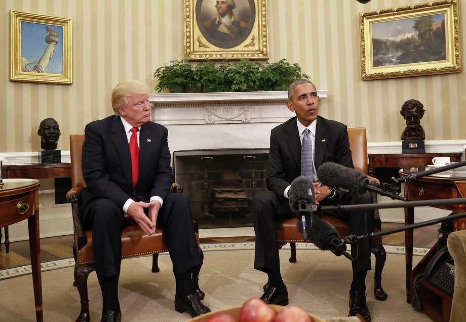 President Barack Obama meets with President-elect Donald Trump in the Oval Office. Readers discuss what a President Trump may mean for the country. Photo: Pablo Martinez Monsivais /Associated Press / Copyright 2016 The Associated Press. All rights reserved.