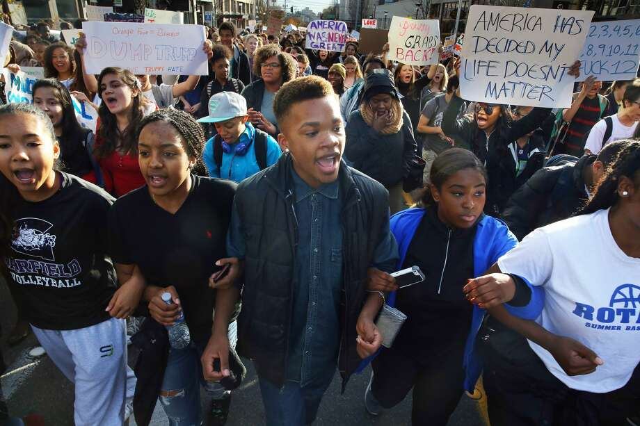 Students at Garfield and Nova High Schools walk out of class and march to Cal Anderson Park in protest of President-elect Donald Trump. (Genna Martin, seattlepi.com) Photo: GENNA MARTIN/SEATTLEPI.COM