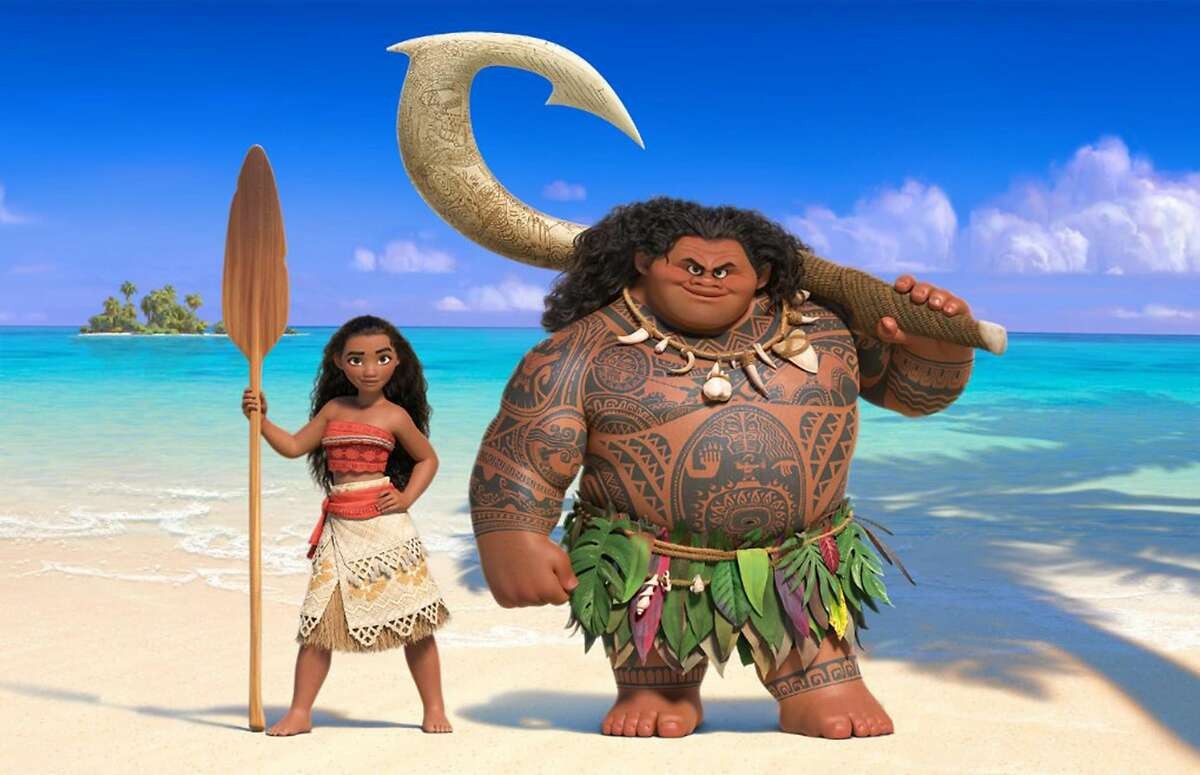 """Moana, left, and Maui in """"Moana,"""" the Disney movie about a young Pacific Island princess who dreams of becoming an ocean navigator."""