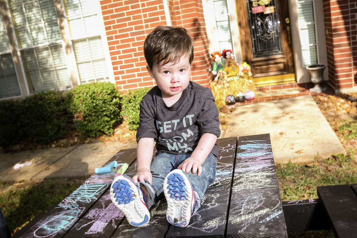 Dominic Larkin, who survived survived a drowning incident after three months at Memorial Hermann Children's Hospital in Houston, is pictured on Sunday, Nov. 13, 2016, outside of the Larkin household in The Woodlands.