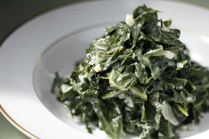 Hibiscus's coconut-creamed collards as seen in San Francisco, Calif., on November 3, 2010. Food styled by Janny Hu.