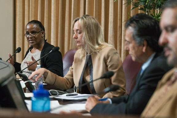 Council member Desley Brooks speaks during a special meeting about cannabis at Oakland City Hall in Oakland, Calif. on Monday, Nov. 14, 2015. The Oakland City Council held a meeting to hear a handful of proposed cannabis laws including a controversial 25% tax on profits made by cannabis businesses.