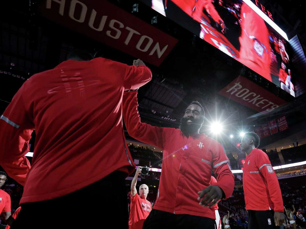 Houston Rockets guard James Harden (13) is introduced before a game against the Philadelphia 76ers at the Toyota Center on Monday, Nov. 14, 2016, in Houston.