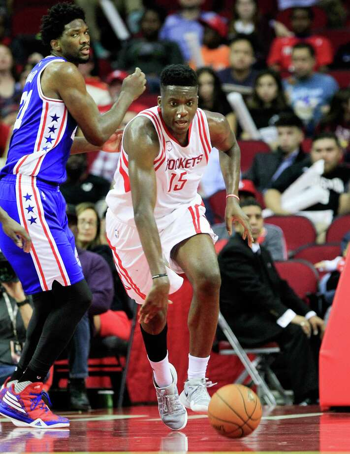 Houston Rockets center Clint Capela (15) drives the ball up court during NBA game action against Philadelphia 76ers at the Toyota Center on Monday, Nov. 14, 2016, in Houston. Photo: Elizabeth Conley, Houston Chronicle / © 2016 Houston Chronicle