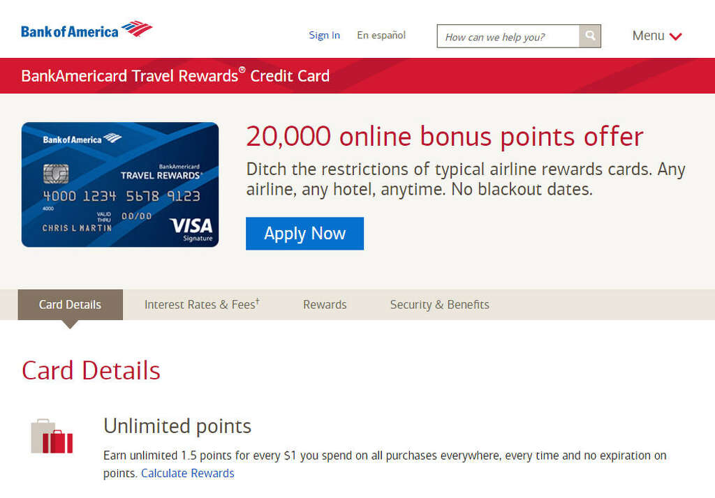 Bank Of America Travel Rewards Card Points Value
