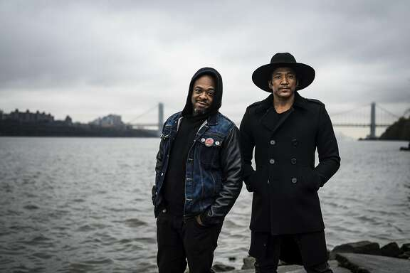 Jarobi White, left, and Q-Tip, members of A Tribe Called Quest in Englewood Cliffs, N.J., Oct. 27, 2016. Recorded just before the death of their other co-founding member Phife Dawg in March, the group is releasing �We Got It From Here, Thank You for Your Service,� their first in 18 years. (Chad Batka/The New York Times)