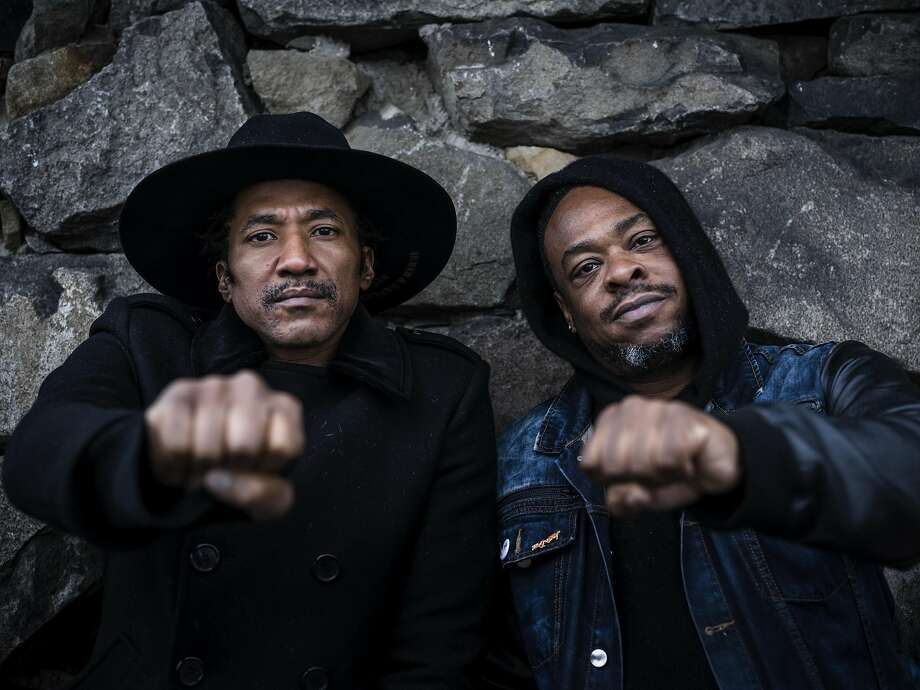 Q-Tip, left, and Jarobi White, members of A Tribe Called Quest, in Englewood Cliffs, N.J., Oct. 27, 2016. Photo: CHAD BATKA, NYT
