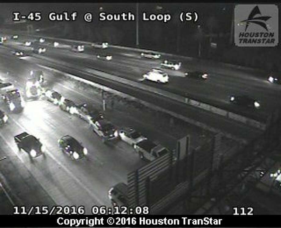 A six-vehicle accident at I-45 Gulf Freeway northbound near the 610 South Loop was blocks traffic heading toward downtown early Tuesday, Nov. 15, 2016. Photo: Houston Transtar