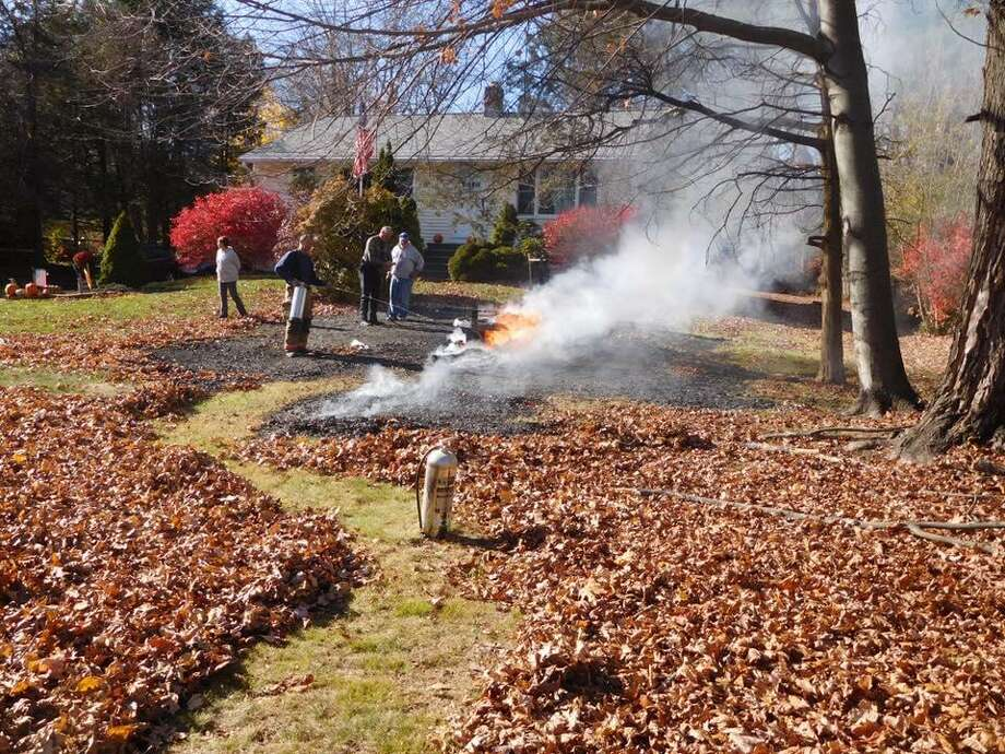 A lawn tractor caught fire in Oxford at 12:45 p.m. Monday, Nov. 13, 2016 when firefighters were dispatched to the area 250 Chestnut Tree Hill Road. Photo: Oxford Fire Department