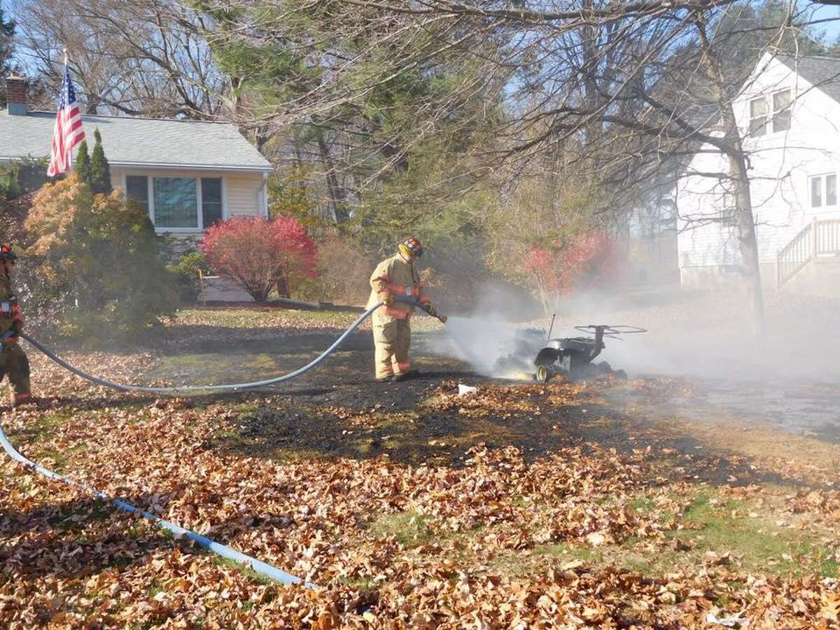A lawn tractor caught fire in Oxford at 12:45 p.m. Monday, Nov. 13, 2016 when firefighters were dispatched to the area 250 Chestnut Tree Hill Road.