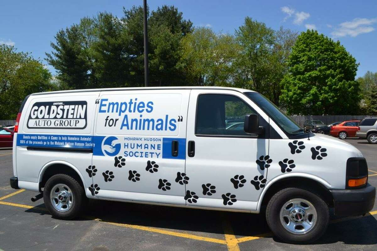 Van used by the Goldstein Auto Group to collect bottles and cans to raise money for the Mohawk Hudson Humane Society. (Courtesy photo)