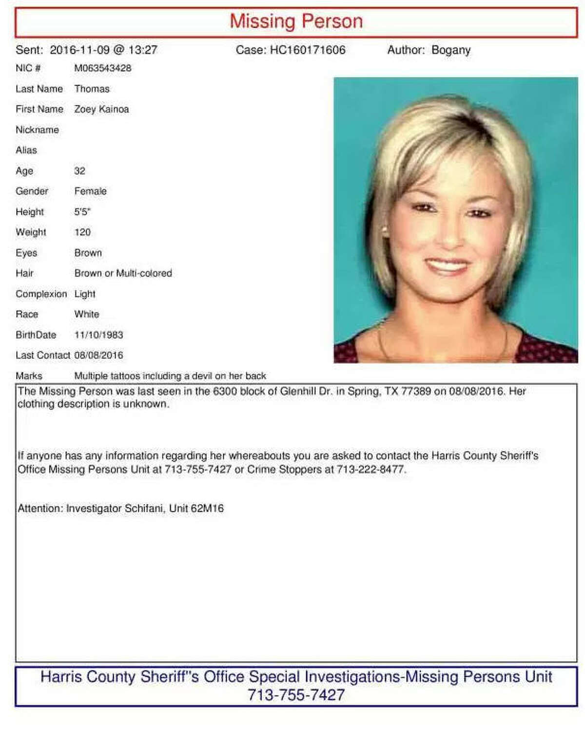 Zoe Thomas Missing since Aug. 8, 2016 From: Harris County Sheriff's Office