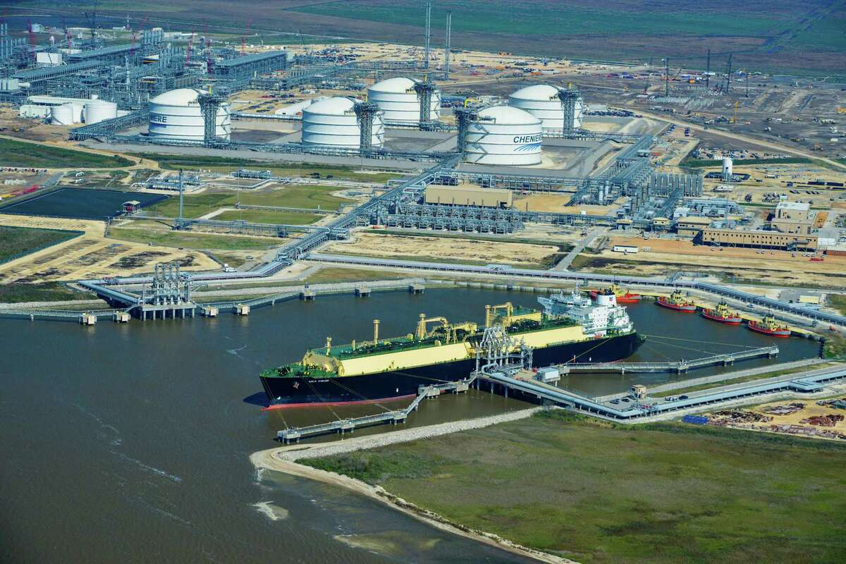 The liquefied natural gas tanker Asia Vision left Cheniere Energy's Sabine Pass export terminal in Louisiana on Wednesday with the first cargo of U.S. shale gas. The carrier ship is shown Wedneday in an aerial photograph taken over Sabine Pass, Texas. (MUST CREDIT: Bloomberg photo by Lindsey Janies)