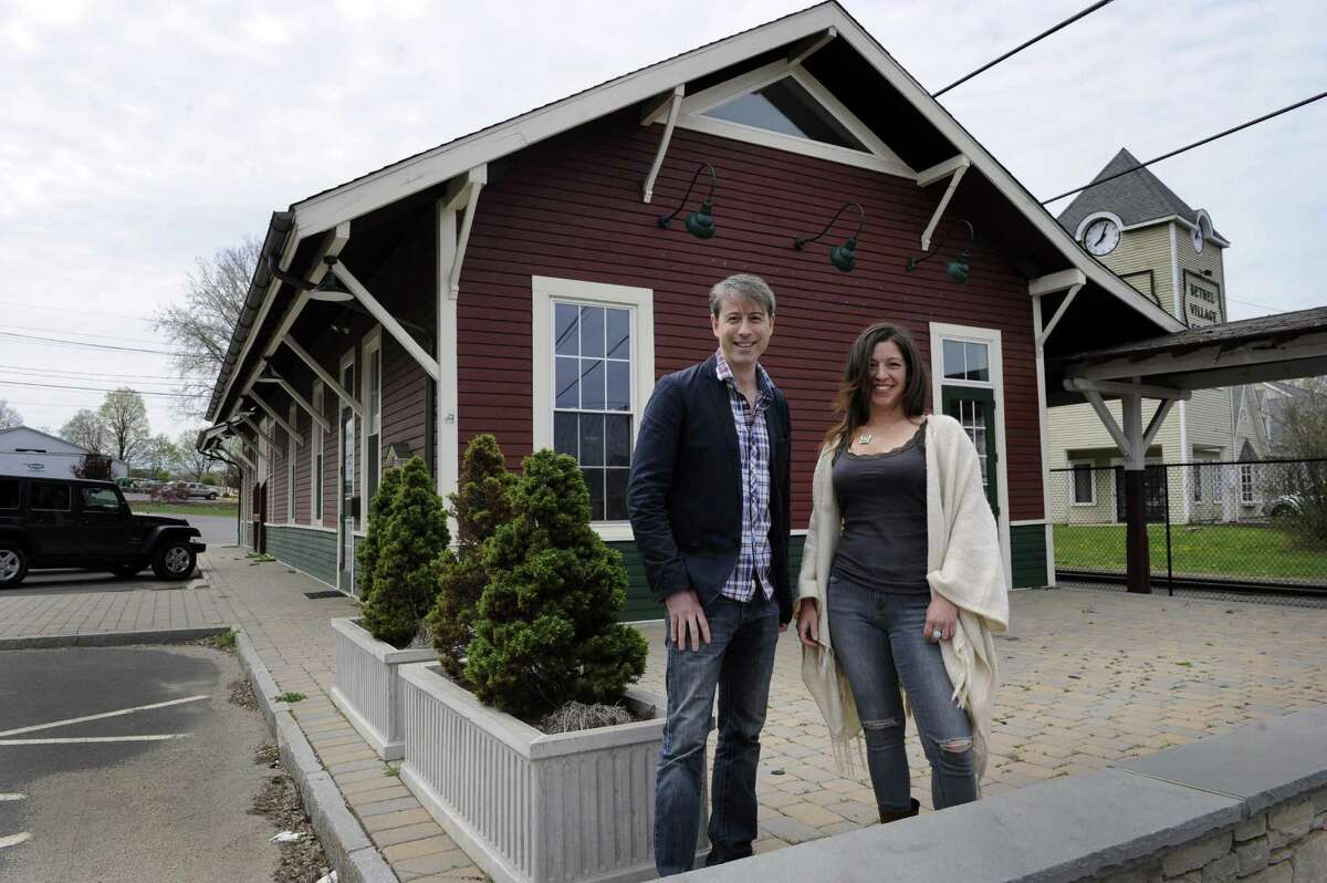 Christopher Sanzeni, 42, and Lisa Tassone, 43, are co-owners of a new brew pub that will open in the former Bethel train station. Photo Monday, April 25, 2016.