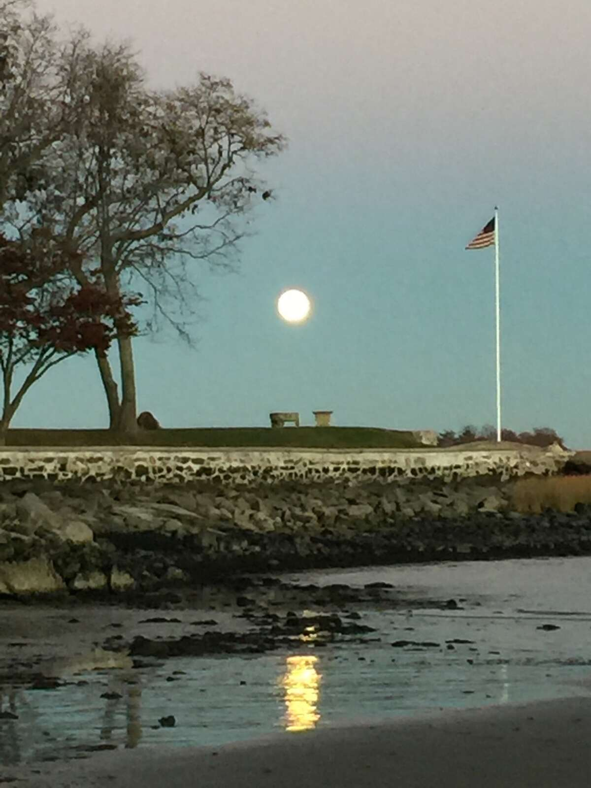 The supermoon as seen over Mead Point in Greenwich on Sunday, Nov. 13, 2016.