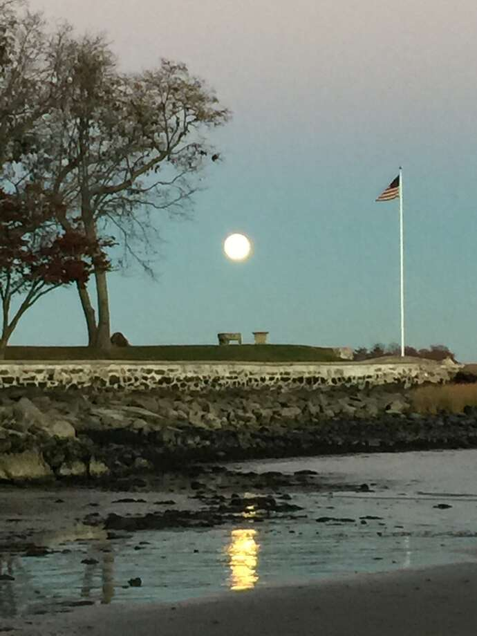 The supermoon as seen over Mead Point in Greenwich on Sunday, Nov. 13, 2016. Photo: Jill Kelly, Contributed