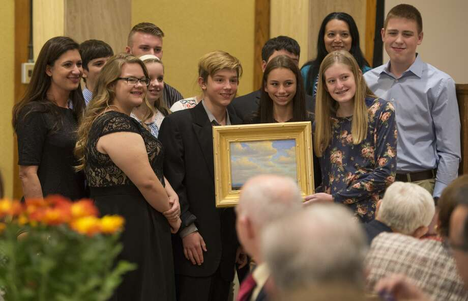 Hillcrest School student council members accept the Outstanding Youth in Philanthropy award Tuesday 11-15-16, during the 2016 National Philanthropy Day luncheon. Tim Fischer/Reporter-Telegram Photo: Tim Fischer/Midland Reporter-Telegram