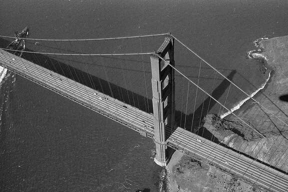Aerial photos from blimp, June 12, 1975 Envelope is No. 7 of a series of 13 packs, and covers According to the negative pack, covers San Francisco State College Sunset District Public Health Hospital Park Merced George Washington High School Golden Gate Bridge