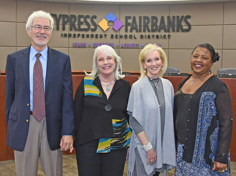 CFISD namesakes were chosen for future and existing campuses during the CFISD Board of Trustees meeting on Nov. 14. Pictured, from left, are Jim and Pam Wells, namesakes for Elementary School No. 55; Janet Hoover, namesake for Elementary School No. 56; and Maybelline Carpenter, namesake for the former Adaptive Behavior Center. Photo: Cy-Fair ISD