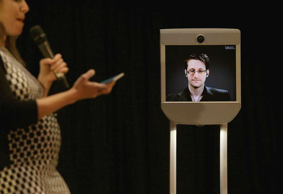 Former National Security Agency contractor Edward Snowden speaks at Fusion's Real Future Fair at the Oakland Museum on Tuesday, Nov. 15, 2016, about personal cybersecurity. Photo: Liz Hafalia, The Chronicle