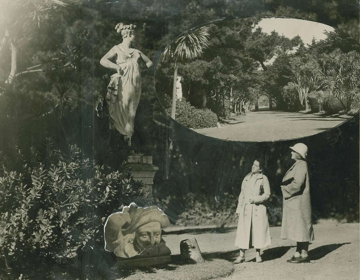 Irene Chichizola, and Mrs. Florence Shaughnessey (right) admire statuary in Sutro Heights, November 7, 1933.