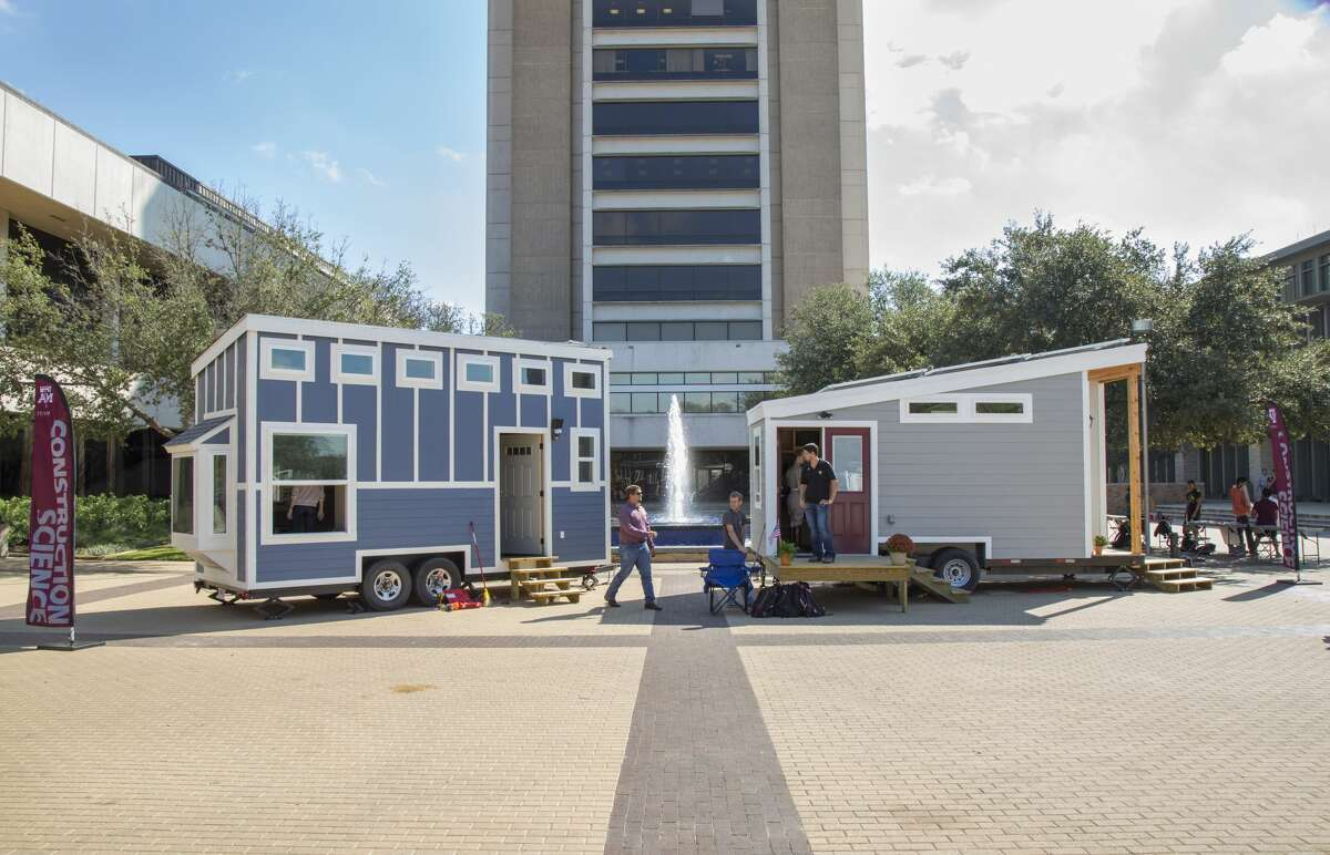 Students at theTexas A&M College of Architecture recently completed two tiny homes for the homeless. Click through to view pictures of the home's interior and construction.