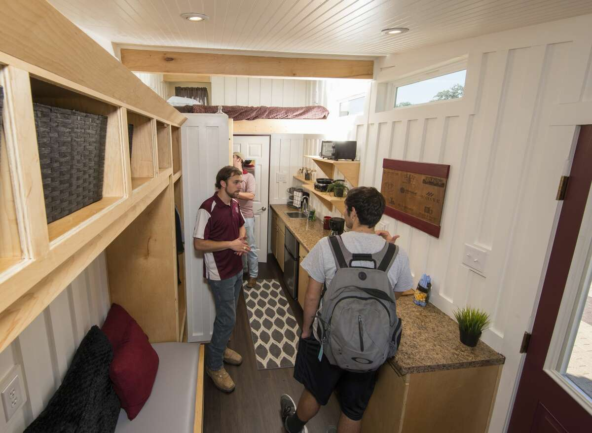 Students at theTexas A&M College of Architecture recently completed two tiny homes for the homeless.