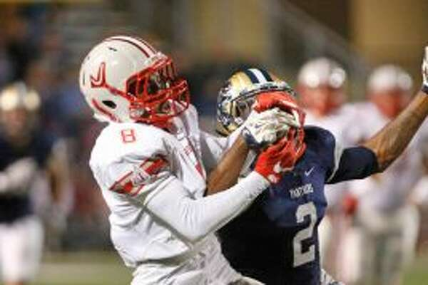 Judson's Kevin Luster out fights O'Connor's Zaire Taylor for a pass reception from the Class 6A Division I bidistrict high school football playoff game between O'Connor and Judson on November 11,2016 at Farris Stadium. (Staff photo)