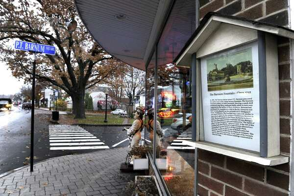 The Bethel Historical Society plans to install at least 30 tour boxes, such as this one next to Famous Pizza on Greenwood Avenue, at various locations around the downtown area.