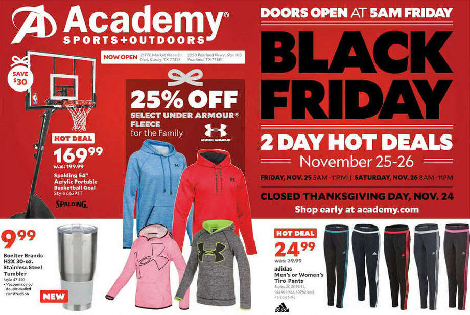 Academy Sports + Outdoors will open their doors Friday, November 27th at 5 a.m. but will open online deals beginning Wednesday at 8 p.m. Central time. Photo: Academy Sports + Outdoors
