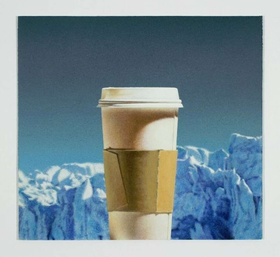 """""""Cup With Glaciers Chance of Rain"""" is among the paintings in Todd Hebert's solo show """"Cups, Coolers, Watermelon and Bottles"""" at Devin Borden Gallery. Photo: Devin Borden Gallery"""