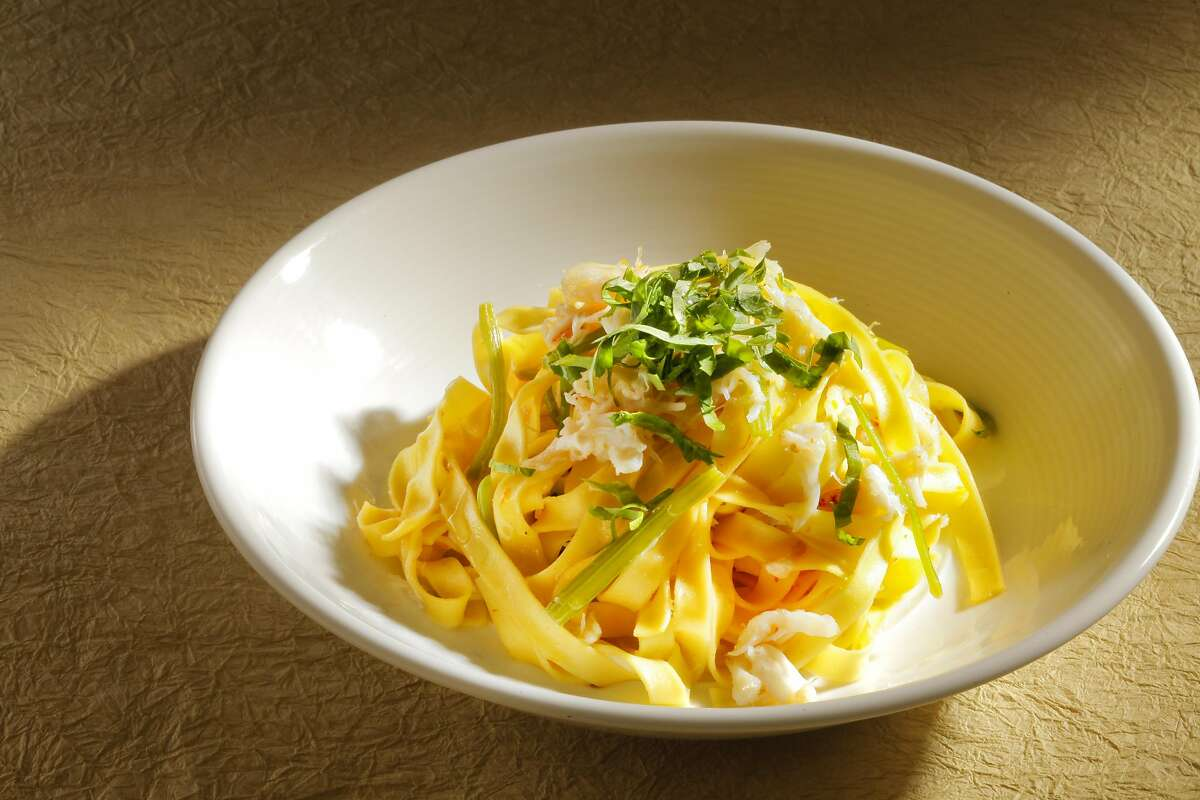 Dungeness Crab Fettuccine with Chinese celery, chile and Meyer lemon.