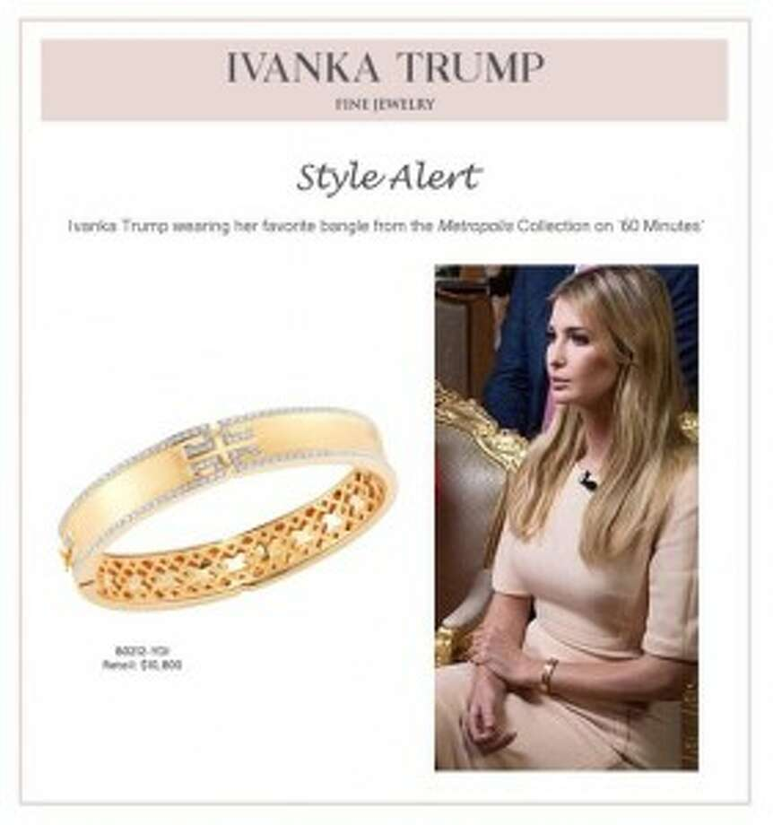 "This ""style alert"" was sent to journalists Monday following Ivanka Trump's 60 Minutes interview. (Ivanka Trump Fine Jewelry) Photo: Courtesy Photo"