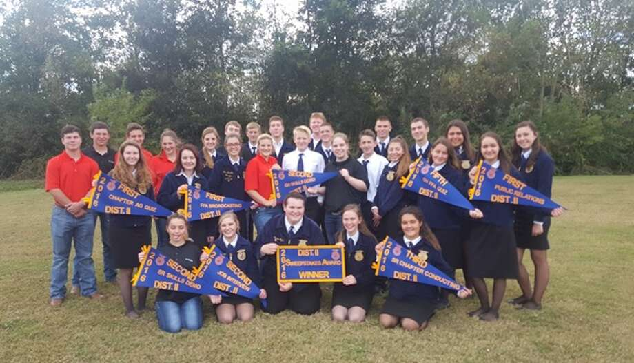 Approximately 30 members of the Huffman FFA Chapter competed at the District II Leadership Development Events Contest in Crosby Monday, Nov. 7. Photo: Submitted